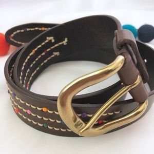 {Fossil} Genuine Leather Boho Color Beaded Belt
